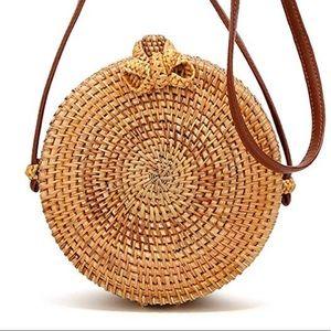 Savannahs Round Rattan Hand Woven Crossbody Bag